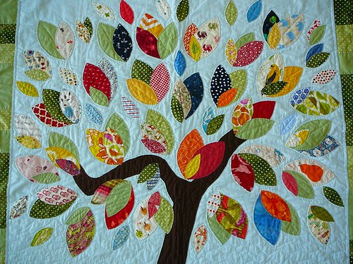 the tree quilt leaves a quilt for my niece tree and leave flickr. Black Bedroom Furniture Sets. Home Design Ideas