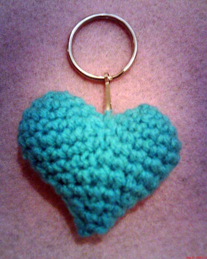 crochet valentine heart key chain www.curly-girl-crochet ...