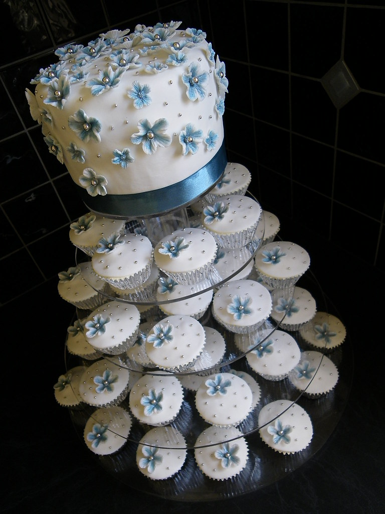 Blue White Amp Silver Wedding Cake Top Cake White