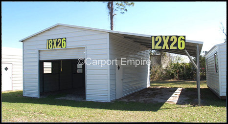 ... Enclosed Steel Garage With Side Carport   By Steelcarport