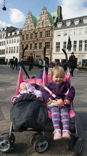 The girls in their pink buggy the day before it died