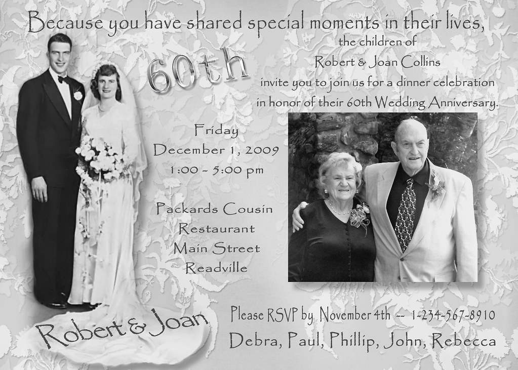 ... Custom Photo Collage Multi Photo Wedding Anniversary Invitations  Victorian Antique Vintage 50th 40th 30th 25th Personalized