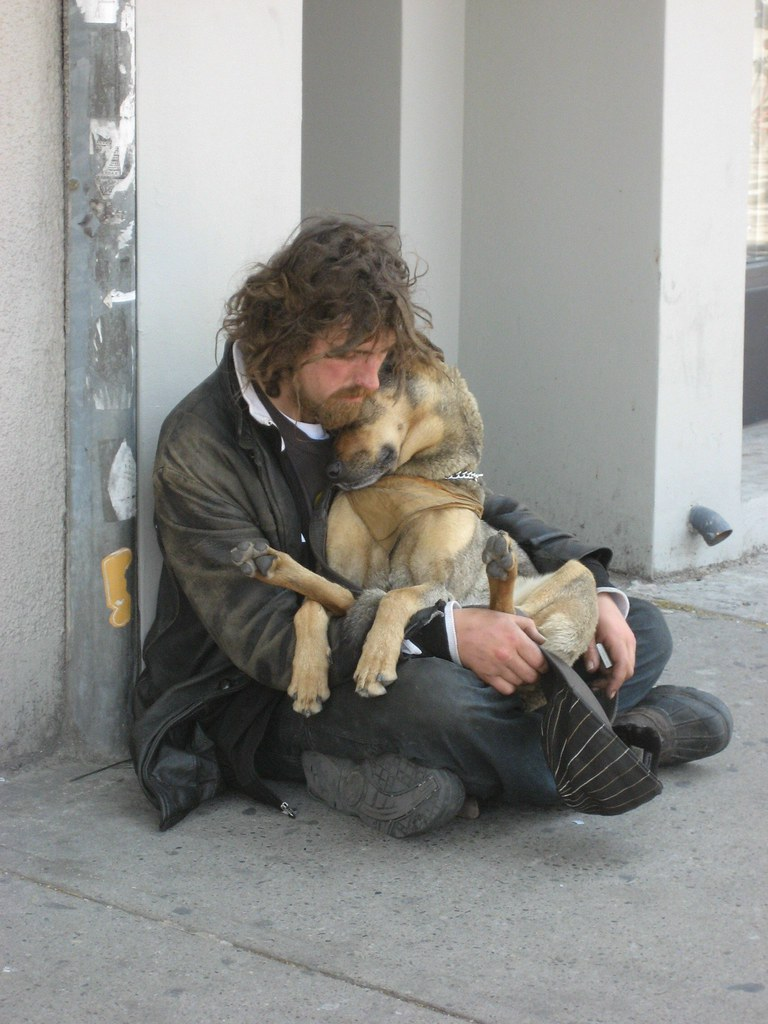 Homeless cuddling dog by Kirsten Starcher