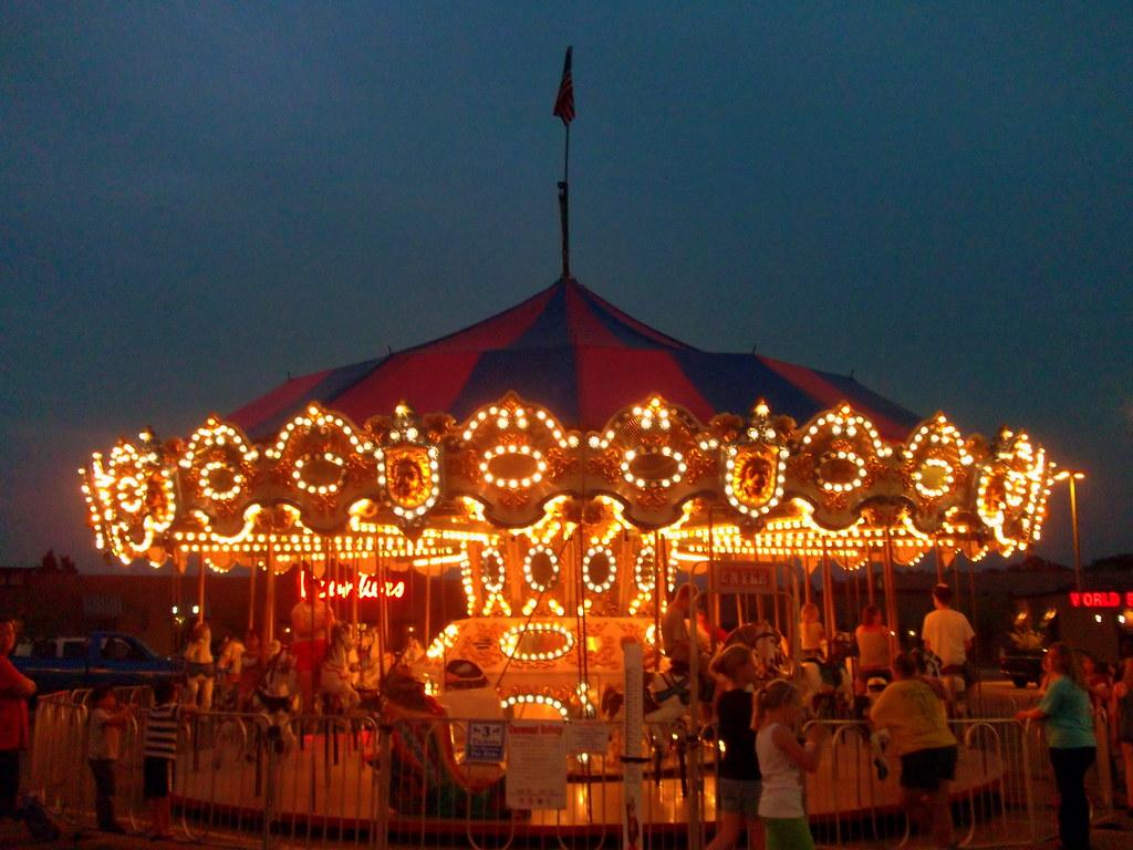 dairyfest carnival carousel at night mark flickr