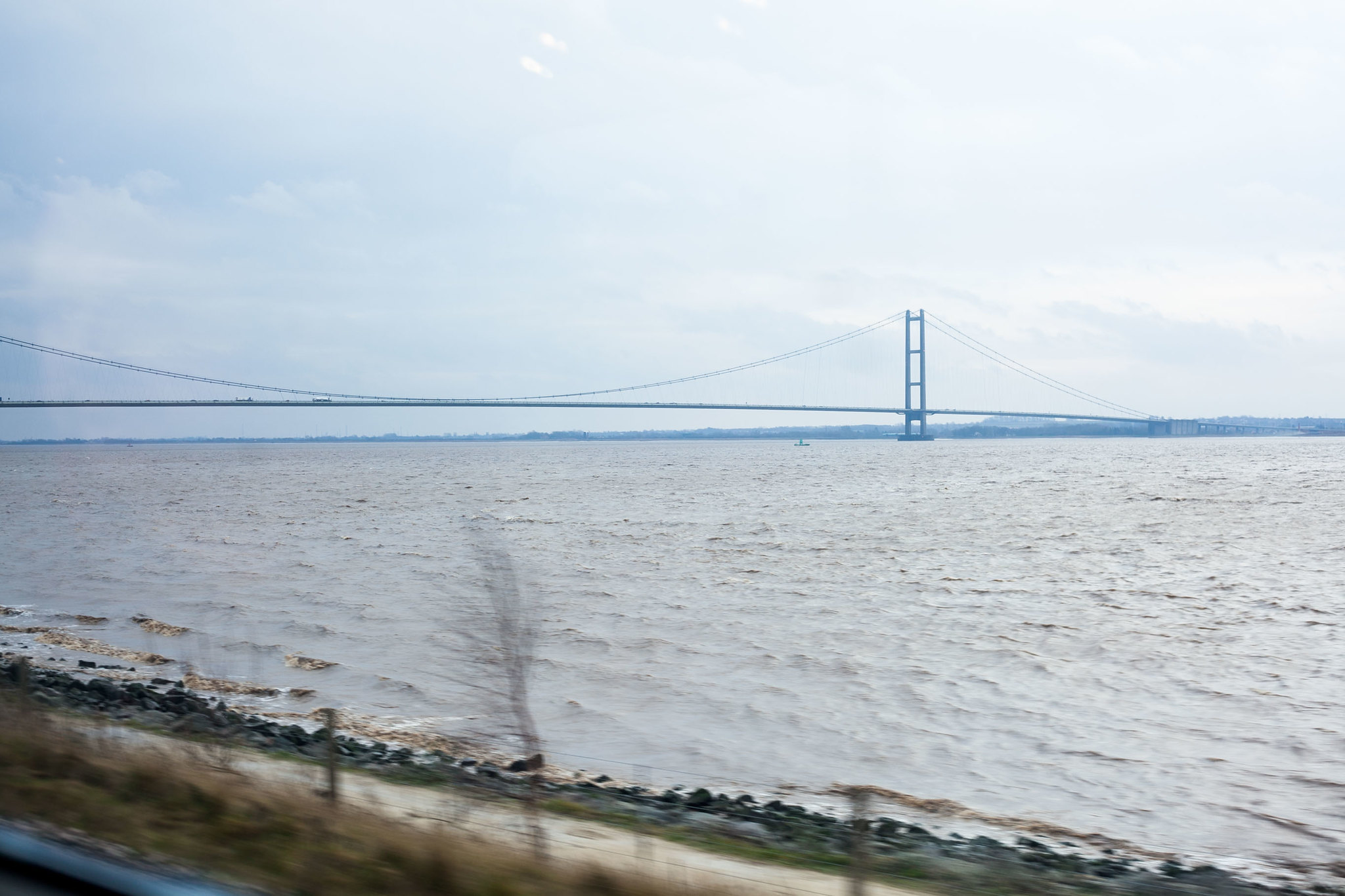 Humber Bridge - The world's eight-longest suspension bridge, seen from the train on the way into Hull from London.