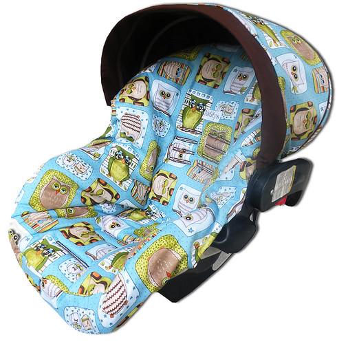 funky owls infant car seat cover eloisa d flickr. Black Bedroom Furniture Sets. Home Design Ideas