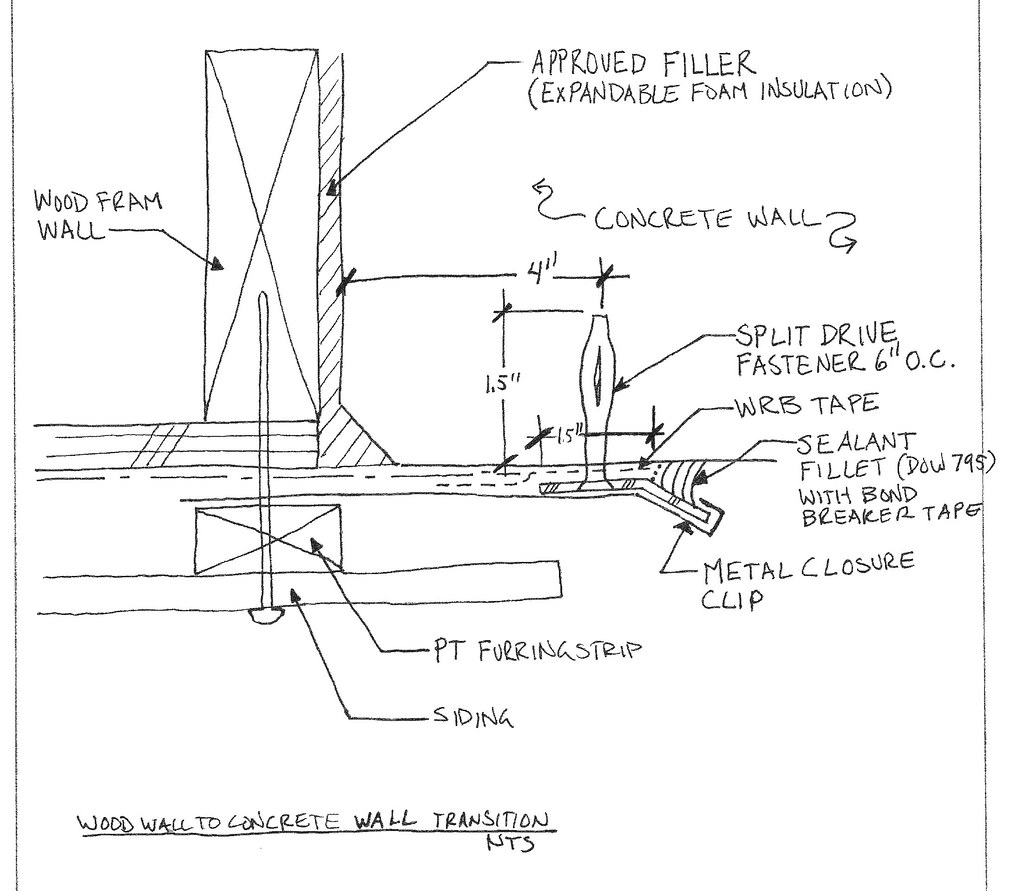 Concrete Wall To Wood Frame Wall Detail Www Sikesdesign