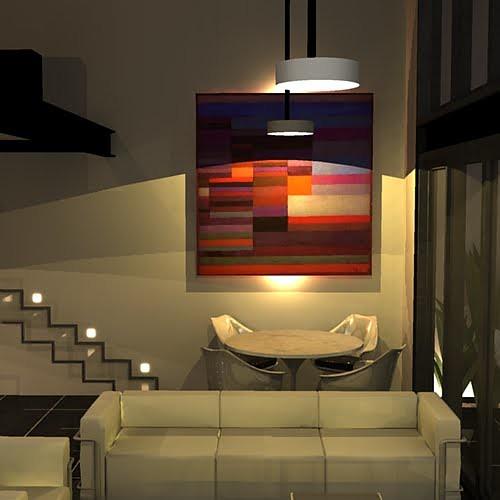 Loft sala de estar e jantar quadro paul klee e ilumina for Sala de estar grande com escada