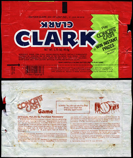 Clark - Concert Cash Game - candy bar wrapper - 1985 | by JasonLiebig