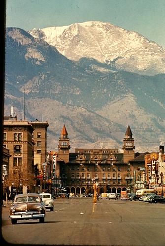 downtown colorado springs with pikes peak antlers hotel