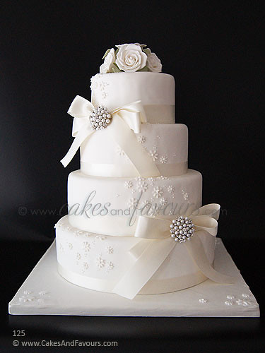4 Tier White Wedding Cake Classical 4 Tier Stacked