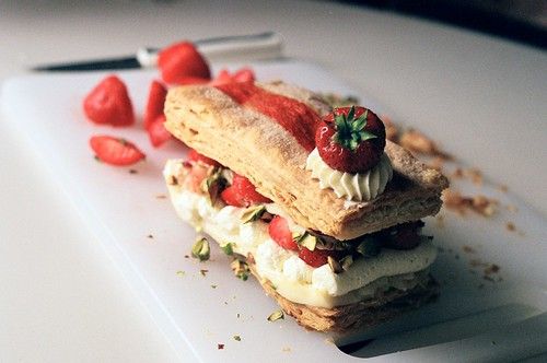 strawberry mille feuille : pistachio + white chocolate cre ...
