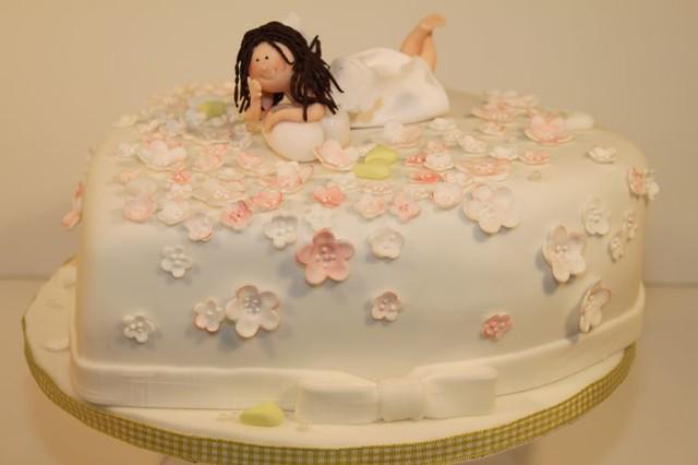 Romantische Torte Mit Schutzengel Und Kirschbluten Flickr