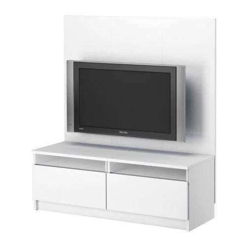 ikea benno tv bench with panel for flatscreens white. Black Bedroom Furniture Sets. Home Design Ideas