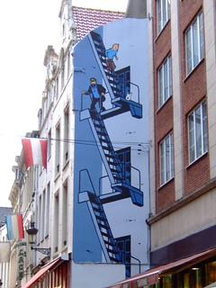 Tintin follows Captain Haddock and Snowy down the fire escape! | by Rob Lightbody