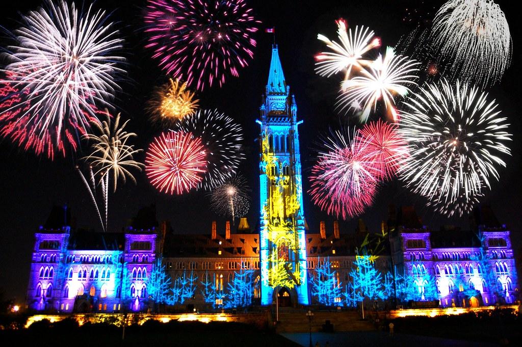 Happy New Year Canada Parliament Hill Ottawa