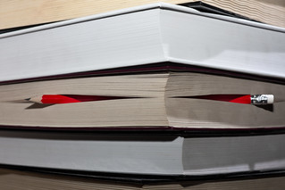 Red pencil sticking out between pages of a book | by Horia Varlan