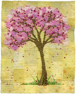 Blossom Tree on Yellow, embroidery art | by Kirsten Chursinoff