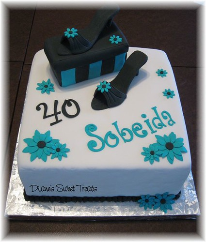 40th birthday cake with high heeled shoes