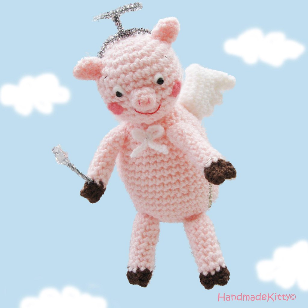 Flying Angel Pig Amigurumi Crochet Pattern ♥ | :) | HandmadeKitty ...