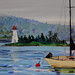 Baddeck Lighthouse in Cape Breton -- acrylic painting by Heidi Clark