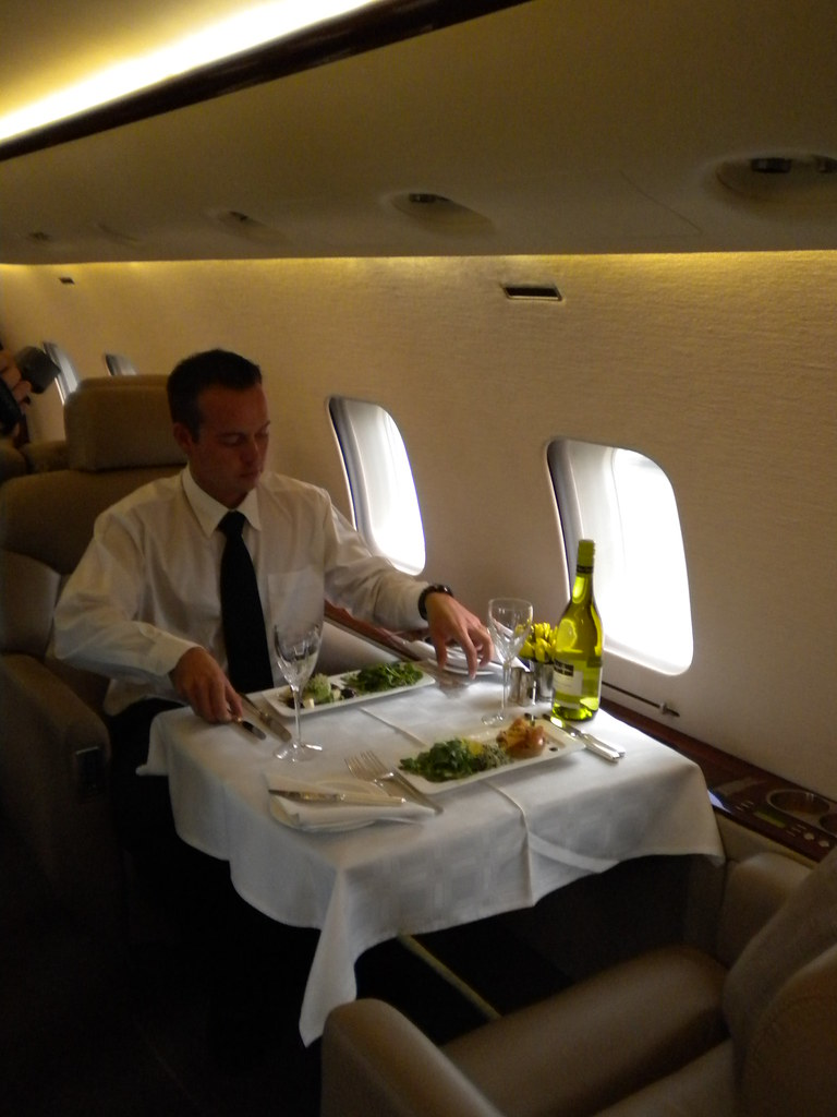 Fine dining aboard private charter jet | VIPs from around ...