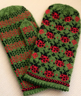 Ladybug Picnic Mittens | by ElinorB