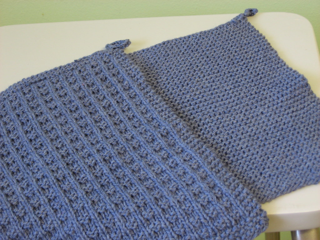 Waffle Knitting Pattern Dishcloth : Bambu Dishcloths (blue) Pattern: top: Waffle Knit Dishclot? Flickr