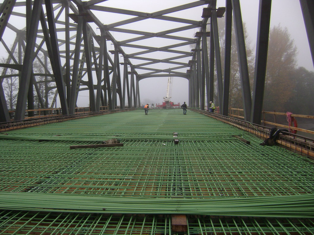 Placing Steel Rebar On Nooksack River Bridge Installing
