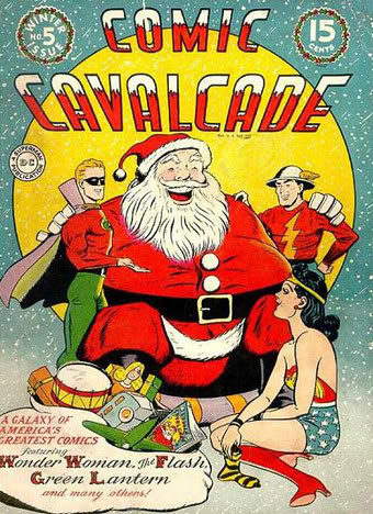 Comic Cavalcade #5 (Winter 1943) - Ginormous alien Santa speaks with DC heroes | by Paxton Holley