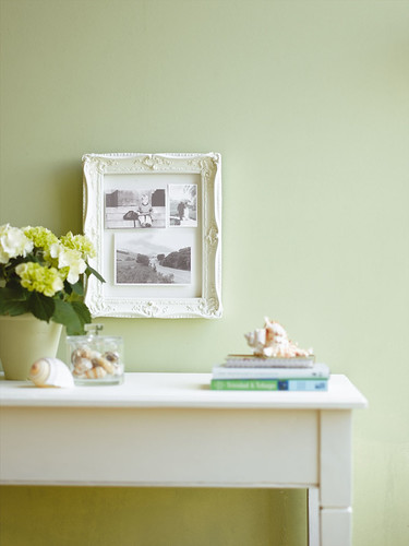 White Frame Against Pale Green Wall We Re Very Happy For