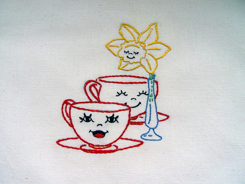 Spring Table Setting Hand Embroidered Tea Towel With Vin