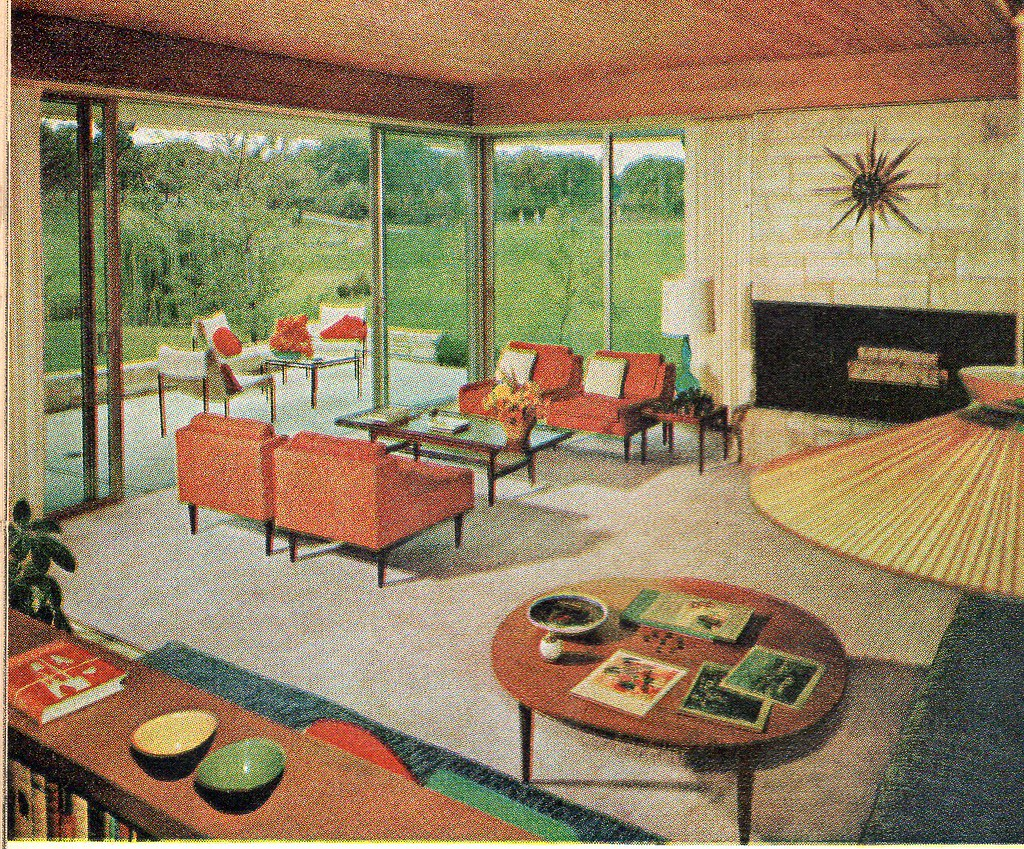 Living room 1960 from the american home august 1960 ethan flickr - Vintage looking home decor gallery ...
