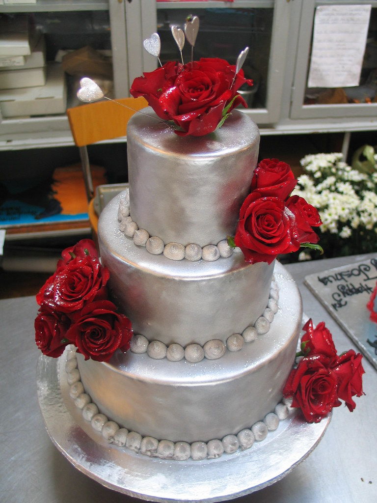 red silver wedding cakes silver chocolate ganache amp roses 3 tier cake silver 19153