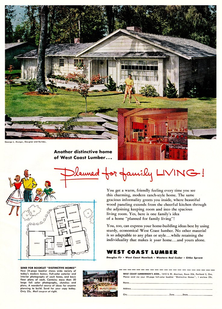 Lumber house the american home magazine february 1956 for Home building magazines