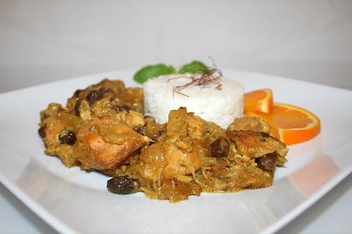 54 - Indian chicken fruit curry - Side view / Indisches Hähnchen Früchtecurry - Seitenansicht
