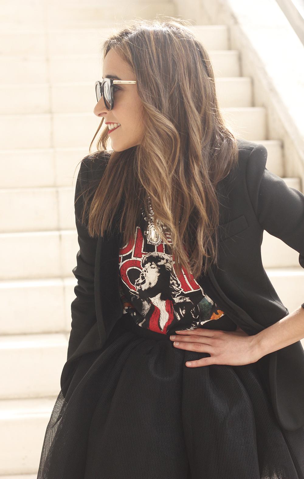 Tulle black skirt blazer maje heels coach bag necklace uterqüe madrid fashion week street style fashion outfit09