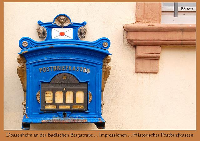 Historischer Postbriefkasten, blau ... Dossenheim Steinbruch Steinbrecherstadt Badische Bergstraße Odenwald Partnerstadt Grau-du-Roi ... Impressionen vom Februar 2017 ... Foto: Brigitte Stolle, Mannheim