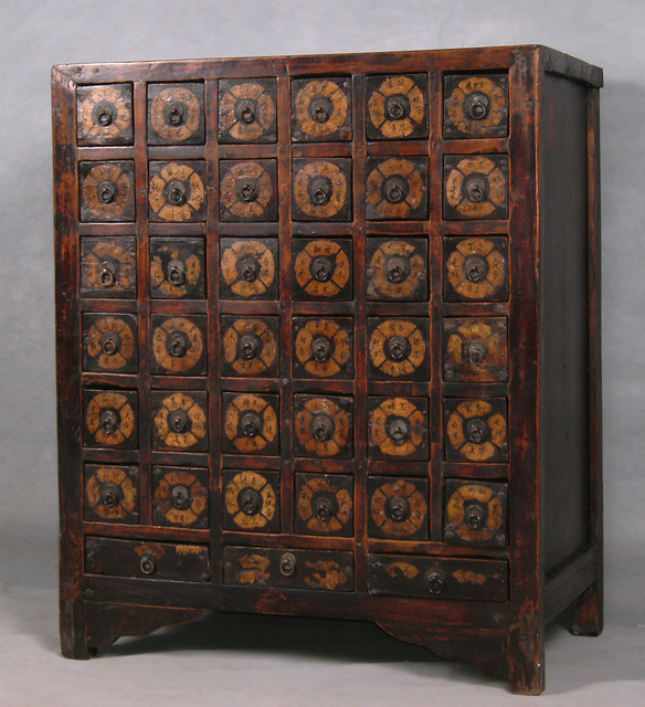 Li9037 Antique Chinese Apothecary Herb Cabinet Chinese