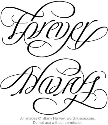 Forever always ambigram v 2 a custom ambigram of for Tattoos that say something different upside down