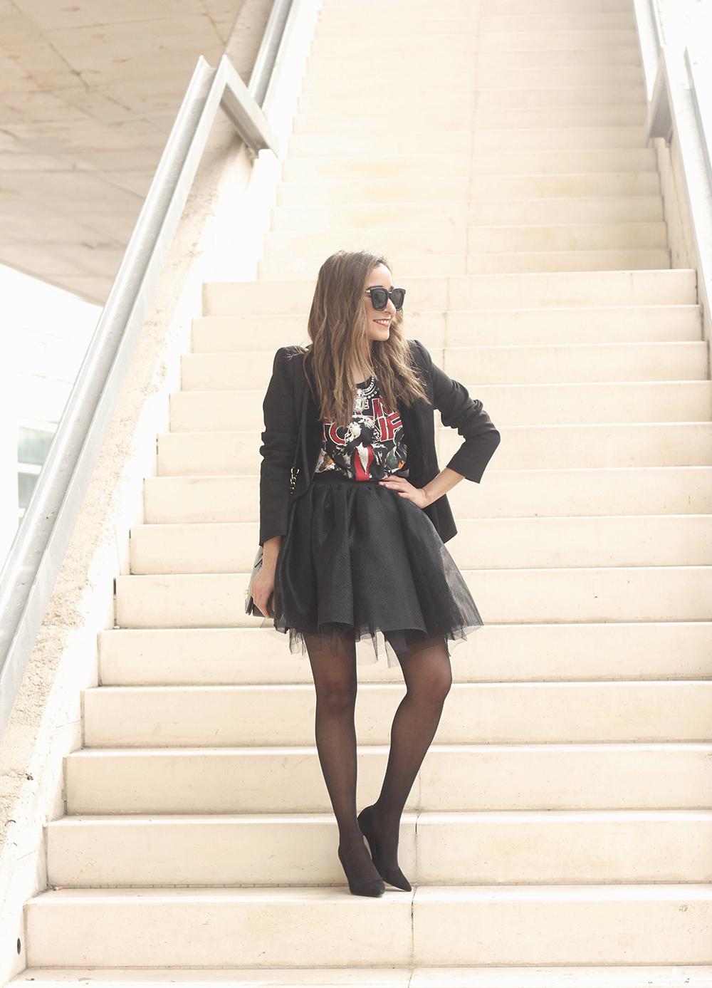 Tulle black skirt blazer maje heels coach bag necklace uterqüe madrid fashion week street style fashion outfit01