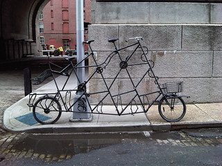 In DUMBO, a tall bicycle built for three. | by tienmao
