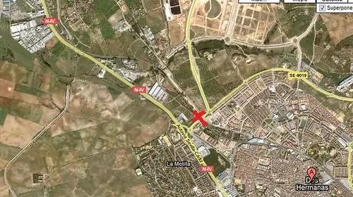 Plano de la ubicación del apeadero de Renfe en Casilla de los Pinos