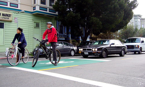 California's First Green Bike Box (Northbound Scott Street) | by sfbike