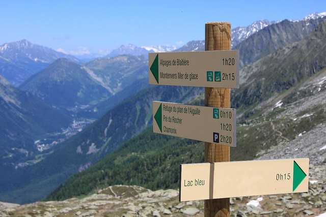 Signpost on the grand balcon sud in chamonix mont blanc for Carrelage grand sud