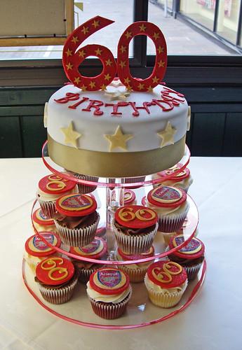 60th Birthday Cupcake Mini Tower Big Cake Is A Vanilla