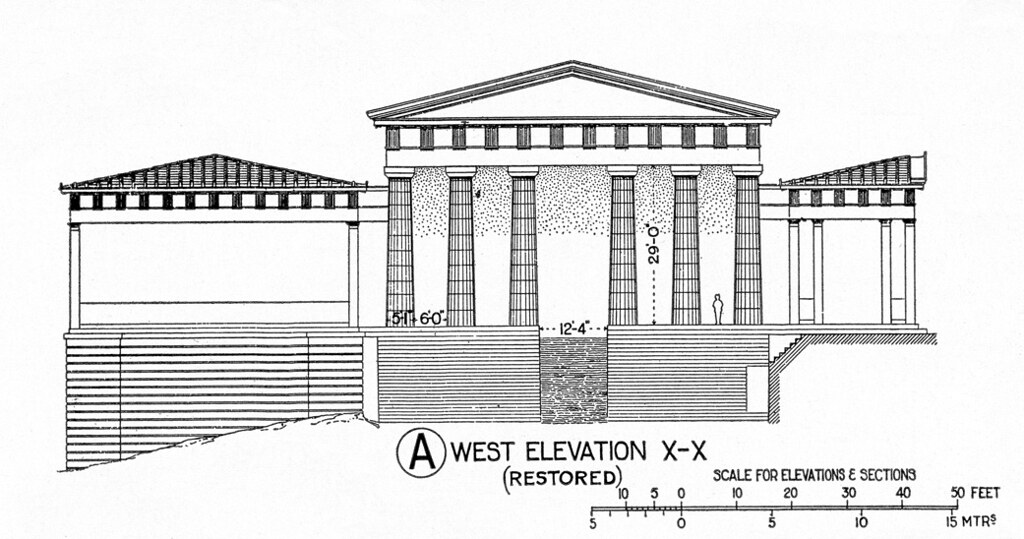 Plan Section Elevation Drawings : Acropolis propylaea reconstruction elevation from the we
