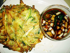 Michelle's zucchini pancakes with sauce | by maangchi
