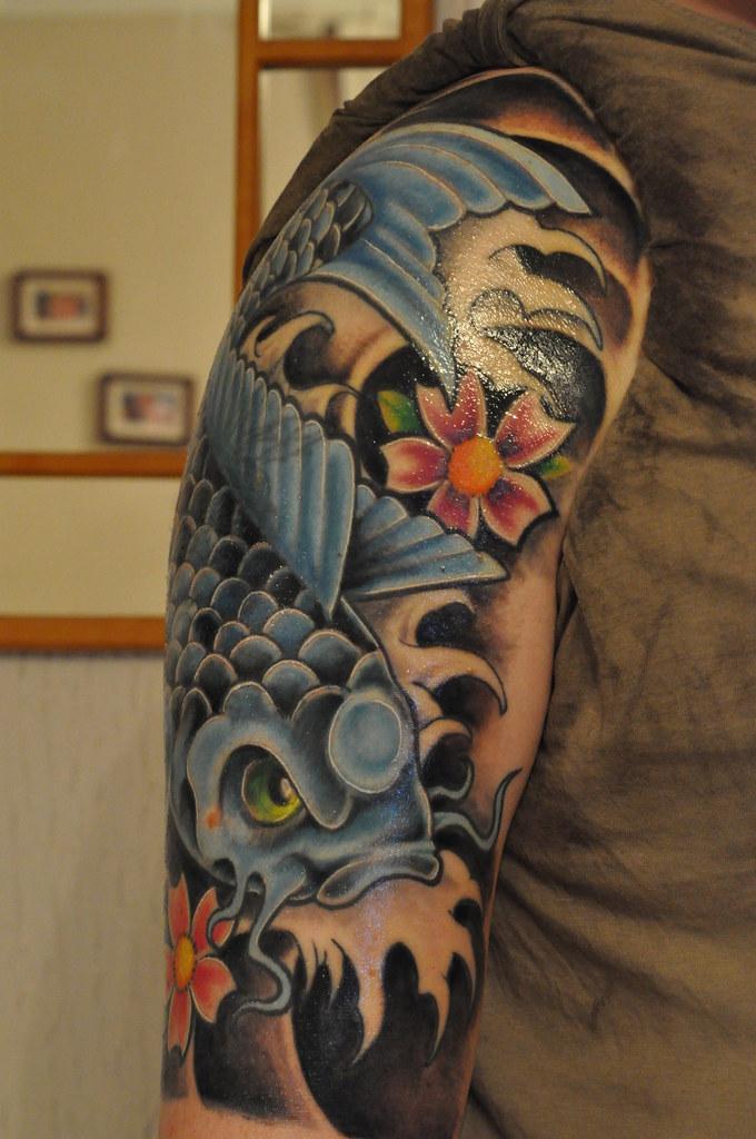 Blue koi tattoo ink by dom from abracadabra tattoo for Black wood tattoo