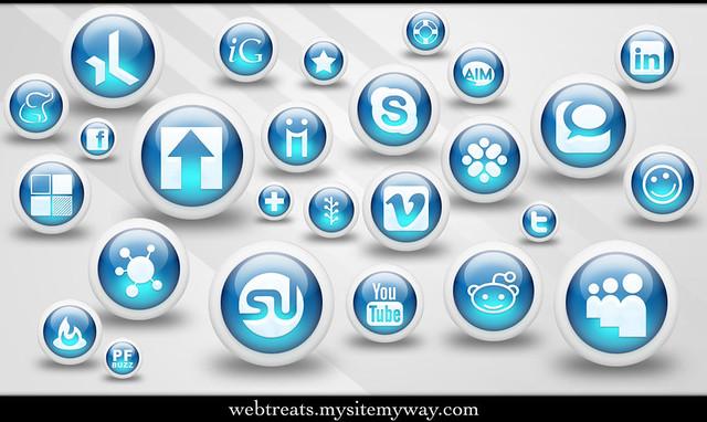 Webtreats 3d Glossy Blue Orbs Social Media Icons | Free ...